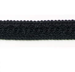 E1903 Black Woven Braid Gimp Sewing Upholstery Trim 3/4""