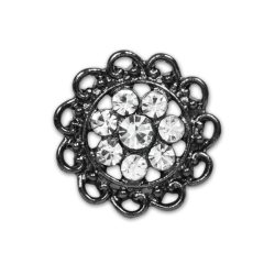 E1342 Crystal Rhinestone Gunmetal Button 7/8""
