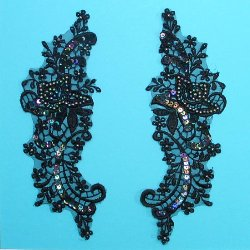 E2108 Black Iris Mirror Pair Venise Lace Beaded Sequin Appliques 7 1/2&quot;