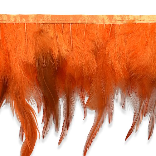 E6984 Orange Jaylo Feather Fringe Trim 5.5""