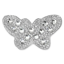 E1326 Crystal Rhinestone Butterfly Applique Clothing or Cake Decor 2.75""