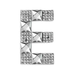 "E1327E  Rhinestone Letter Applique E Iron On Patch Crystal 2.5"""