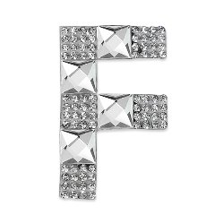 E1327F  Rhinestone Letter Applique F Iron On Patch Crystal 2.5""
