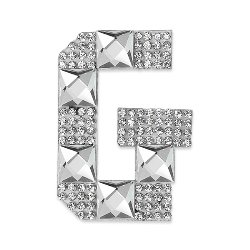 E1327G Rhinestone Letter Applique G Iron On Patch Crystal 2.5""