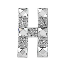 E1327H  Rhinestone Letter Applique H Iron On Patch Crystal 2.5""