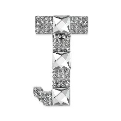 E1327J Rhinestone Letter Applique J Iron On Patch Crystal 2.5""