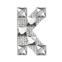 E1327K  Rhinestone Letter Applique K Iron On Patch Crystal 2.5""