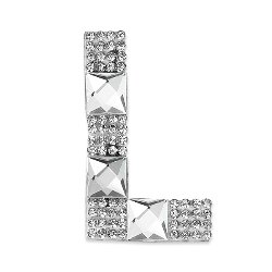E1327L  Rhinestone Letter Applique L Iron On Patch Crystal 2.5""