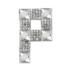 E1327P Rhinestone Letter Applique P Iron On Patch Crystal 2.5""