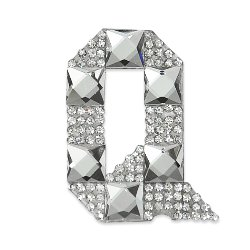 E1327Q  Rhinestone Letter Applique Q Iron On Patch Crystal 2.5""