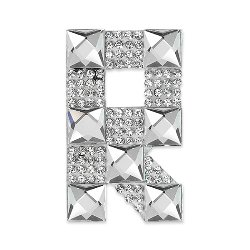 E1327R  Rhinestone Letter Applique R Iron On Patch Crystal 2.5""