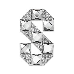 E1327S  Rhinestone Letter Applique S Iron On Patch Crystal 2.5""