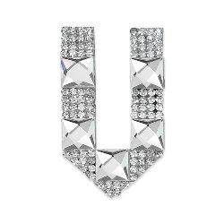"E1327V Rhinestone Letter Applique V Iron On Patch Crystal 2.5"""