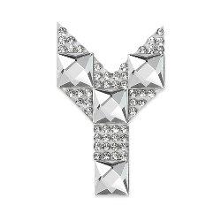 "E1327Y Rhinestone Letter Applique Y Iron On Patch Crystal 2.5"""