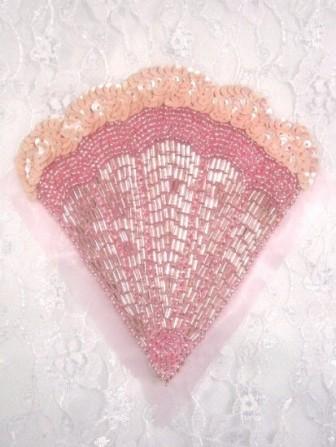 """K8246  Pink Opaque Victorian Fan Sequin Beaded Applique 4.75"""""""
