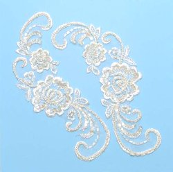 E252 Ivory Venise Lace Mirror Pair Sequin Appliques 9&quot;