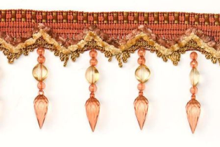 E4291 Cinnamon Beaded Drop Gimp Fringe Trim 4.5&quot;