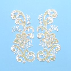 E2716  Ivory Venise Lace Mirror Pair Sequin Appliques 7&quot;