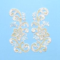 """E2716  Ivory Venise Lace Mirror Pair Sequin Appliques 7"""""""