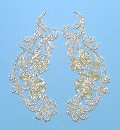 "E246 Venise Lace Appliques Ivory Sequin Beaded Mirror Pair 9"""