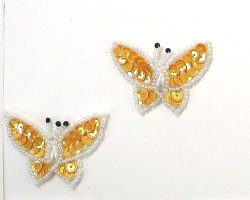 E3132 (Set of 2) Gold Butterfly Sequin Beaded Appliques 1.75&quot;