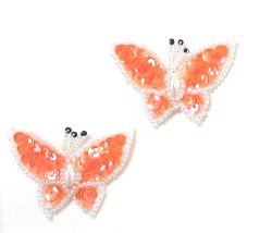 E3132 (Set of 2) Orange Butterfly Sequin Beaded Appliques 1.75&quot;