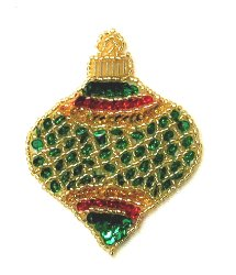 E3184  Small Christmas Ornament Sequin Beaded Applique 3&quot;