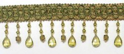 E5676 Sage Nicole Teardrop Beaded Fringe Trim 2.75&quot;