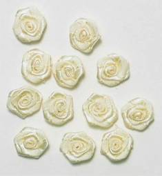 E4503  Bridal Flower Appliques Ivory Set of ( 12 ) Floral Rose 1/2""