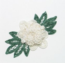 E3640 Ivory Floral Applique Bouquet 6""