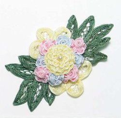 E3640 Pastel Floral Applique Bouquet 6""