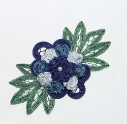 E3640 Blue Multi Floral Applique Bouquet 6""