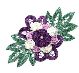 E3640 Purple Multi Floral Applique Bouquet 6""