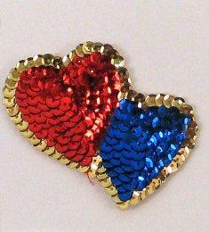 "E1070S Red Blue Double Heart Designer Sequin Applique 3"""