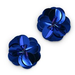 E3998 (Set of 2) Blue Cluster Flower Sequin Appliques 1.5&quot;