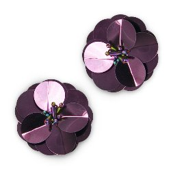 E3998 (Set of 2) Burgundy Cluster Flower Sequin Appliques 1.5&quot;