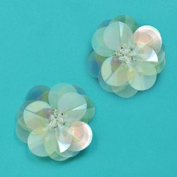E3998 (Set of 2) Crystal AB Cluster Flower Sequin Appliques 1.5&quot;