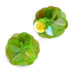 E3998 (Set of 2) Green Cluster Flower Sequin Appliques 1.5&quot;