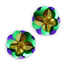 E3998 (Set of 2) Multicolor Cluster Flower Sequin Appliques 1.5&quot;