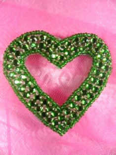 SA15 REDUCED Green Jewel Heart Applique Beaded 2.5""