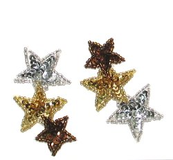 E471 (Set of 2) Cascading Star Sequin Appliques 2 5/8&quot;