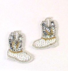 E473 Cowgirl Boot Appliques Mirror Pair Sequin Beaded 1 5/8""