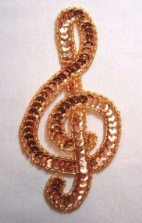"""K9304 Sm Gold G Clef Musical note Sequin Beaded Applique 4.75"""""""