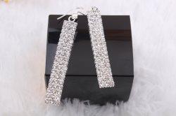 """GB28 Earrings Crystal Rhinestone Silver Metal 2.75"""""""