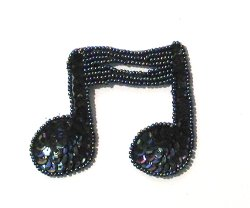 E722 Black Double Note Sequin Applique 3&quot;