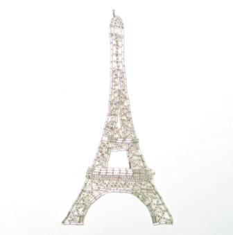 """E836 Silver Eiffel Tower Sequin Beaded Applique 6.75"""""""