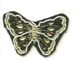 E5864 Khaki Felt Embellished Butterfly Applique 3.25&quot;