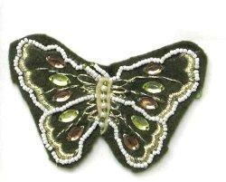 "E5864 Khaki Felt Embellished Butterfly Applique 3.25"""