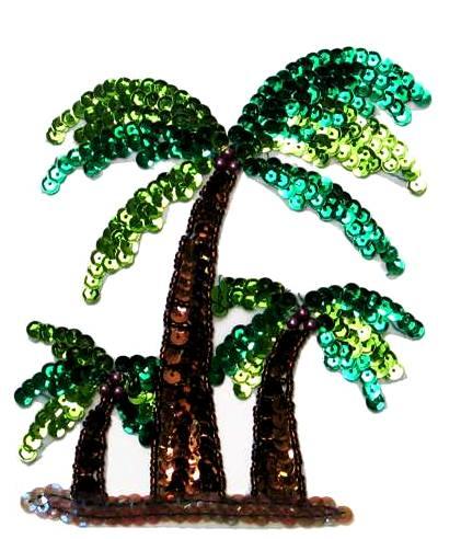 "E664S Palm Trees Sequin Beaded Applique 5.5"""