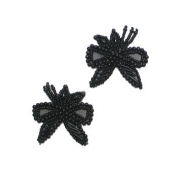 E1128 Black Bow Beaded  with Leaf Mirror Pair Appliques 1.75""